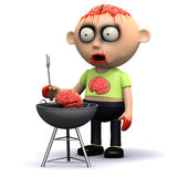 3d Zombie barbeque. 3d render of a zombie cooking brains on a barbeque Stock Images