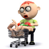 3d Zombie goes shopping Royalty Free Stock Image