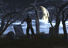 3D zombie in a graveyard Royalty Free Stock Photography