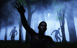 3D zombies in foggy forest Stock Photo