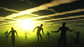 3D zombies in green spooky landscape Stock Image