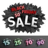 3d zwart de markeringsontwerp van de vrijdagverkoop Zwarte realistische de herfstbladeren Vector illustratie EPS 10 vector, Zwart Stock Foto's