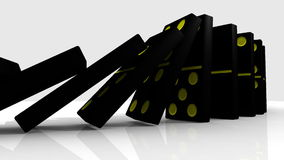 3D zwarte domino's die tegen een witte achtergrond vallen royalty-vrije illustratie