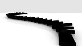 3D zwarte domino's die zich tegen een witte achtergrond bevinden stock illustratie