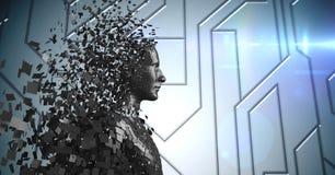 3D zwarte mannelijke AI tegen blauwe technische patroon en gloed Royalty-vrije Stock Foto's