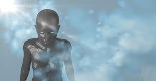 3D zwarte vrouwelijke AI met wolken en blauwe achtergrond met gloed Stock Afbeelding