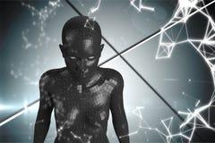 3D zwarte vrouwelijke AI tegen grijze achtergrond en wit netwerk Stock Foto