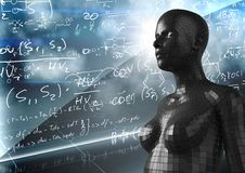 3D zwarte vrouwelijke AI tegen muur met wiskundekrabbels Stock Fotografie