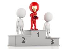 3d zwycięzcy odświętność na podium z trofeum Fotografia Stock
