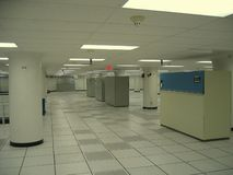 D7551 Data Center. Largely empty datacenter with air conditioning units Royalty Free Stock Images