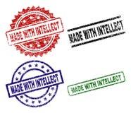 Dañado texturizado HECHO CON los sellos del sello del INTELECTO stock de ilustración