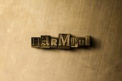 DAÑINO - el primer del vintage sucio compuso tipo de palabra en el contexto del metal Imagenes de archivo