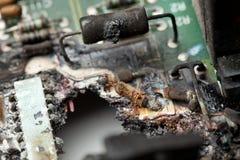Daño de equipo electrónico Imágenes de archivo libres de regalías