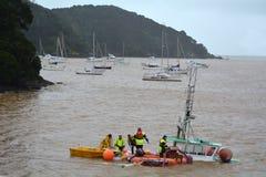 Daño de la tormenta - barco del fregadero Foto de archivo