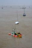 Daño de la tormenta - barco del fregadero Imágenes de archivo libres de regalías