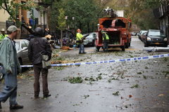 Daño de NYC - huracán Sandy Foto de archivo libre de regalías