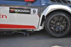 Daño del coche de Sebastien Loeb después de la raza Fotografía de archivo libre de regalías