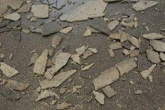 Daño del piso concreto Fotografía de archivo