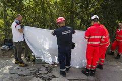 Daño del terremoto en Pescara del Tronto, Italia Fotos de archivo libres de regalías