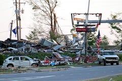 Daño del tornado de Ringgod Georgia foto de archivo