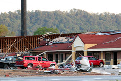 Daño del tornado de Ringgod Georgia imagen de archivo