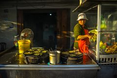 Da拉特, Lam Dong,越南2017年2月12日:做越南薄煎饼和卖她的薄煎饼的妇女 库存照片
