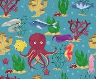Da água submarina sem emenda da ilustração dos desenhos animados dos peixes do oceano das estações de tratamento de água do vetor Fotos de Stock
