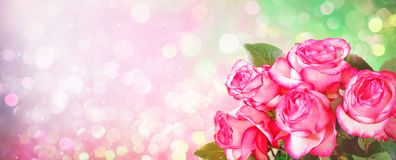 Романтичная предпосылка с букетом розовых роз для валентинок da стоковая фотография