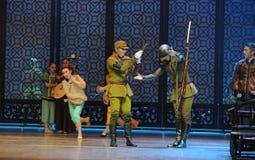 舞蹈过去的戏曲沙湾事件日本军队Da左家的求知欲这第三次行动  免版税图库摄影