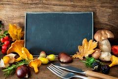 Da ação de graças vida ainda com cogumelos, fruto sazonal e veget Foto de Stock