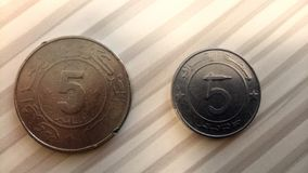 5 Dinars algerian Currency between past and future stock image