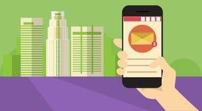 Da aplicação esperta do telefone da pilha da posse da mão bandeira em linha de uma comunicação da rede do bate-papo da mensagem Imagem de Stock