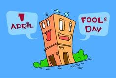 Día April Holiday Greeting Card del tonto del personaje de dibujos animados de la construcción de viviendas divertida Fotos de archivo libres de regalías