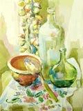 Da aquarela da cozinha vida feito a mão ainda Foto de Stock Royalty Free