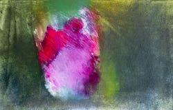 Da arte acrílica da pintura do sumário única rosa vermelha no fundo exterior de-focalizado foto de stock