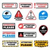 Da atenção sinais do vetor da mensagem por favor Etiquetas alertas da informação importante ilustração royalty free