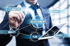 Da avaliação da análise do negócio da avaliação da analítica medida do conceito da tecnologia Fotografia de Stock
