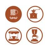 Da bebida lisa da coleção do café os ícones decorativos vector o illustratio Fotografia de Stock