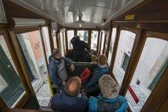 Da Bica缆索铁路在里斯本 库存图片