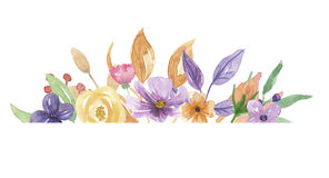 Da borda roxa do quadro da aquarela rosa lilás da flor do verão da grinalda pintado à mão ilustração stock