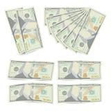 100 da cédula dólares de vetor da pilha Cem dinheiros Bill Isolated Illustration do americano O dinheiro realístico empilha o con Foto de Stock