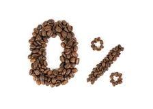 0% da cafeína Sinal não caffeinated dos feijões de café Backgro branco Fotos de Stock Royalty Free