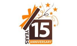 15 da caixa de presente anos de aniversário da fita Imagens de Stock