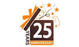 25 da caixa de presente anos de aniversário da fita Foto de Stock