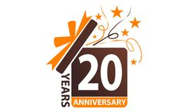 20 da caixa de presente anos de aniversário da fita Fotos de Stock