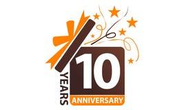 10 da caixa de presente anos de aniversário da fita Fotografia de Stock