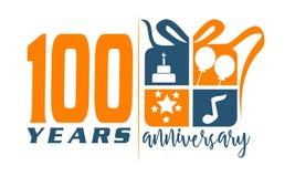 100 da caixa de presente anos de aniversário da fita Fotos de Stock
