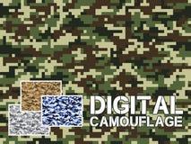 Da camuflagem digital diferente de quatro teste padrão militar cores para o fundo, roupa, vestuário de matéria têxtil, papel de p Fotos de Stock Royalty Free