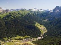 Da Canazei a passo Fedaia. Aerial view of Fassa valley from Alba di Canazei to Fedaia pass Royalty Free Stock Photos