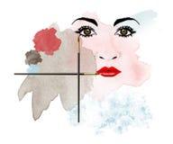 Da caos viene la bellezza ? il tema di questa illustrazione circa trucco sudicio che trasforma il fronte di una donna in un'opera illustrazione vettoriale